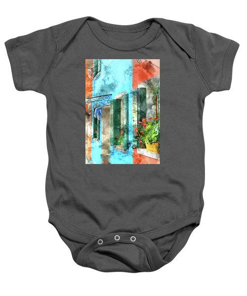 Colorful Houses In Burano Island Venice Italy Baby Onesie