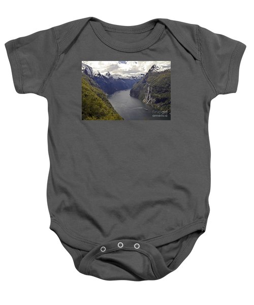 Baby Onesie featuring the photograph Geiranger Fjord by Heiko Koehrer-Wagner