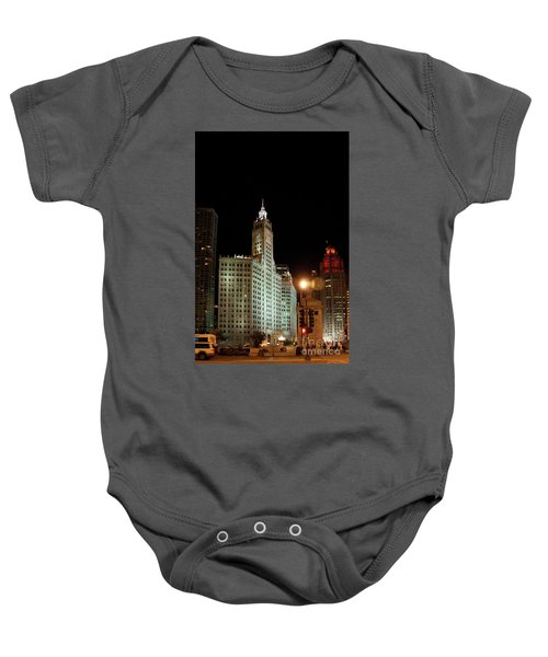 Looking North On Michigan Avenue At Wrigley Building Baby Onesie