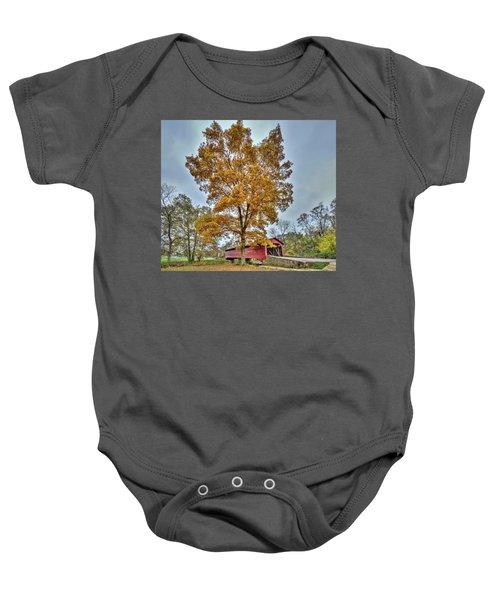 Maryland Covered Bridge In Autumn Baby Onesie