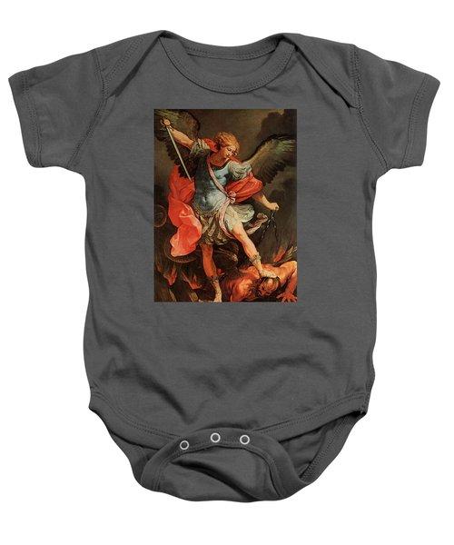 Michael Defeats Satan Baby Onesie