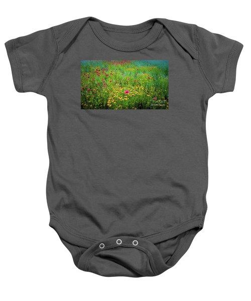 Mixed Wildflowers In Bloom Baby Onesie