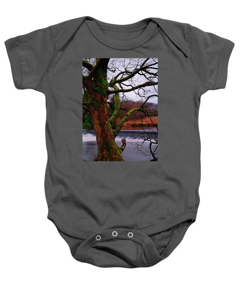 Mossy Tree Leaning Over The Smooth River Wharfe Baby Onesie