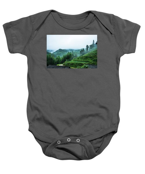 Mountains Scenery In The Mist Baby Onesie