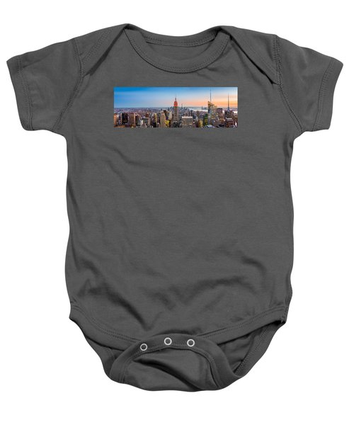 New York Skyline Panorama Baby Onesie