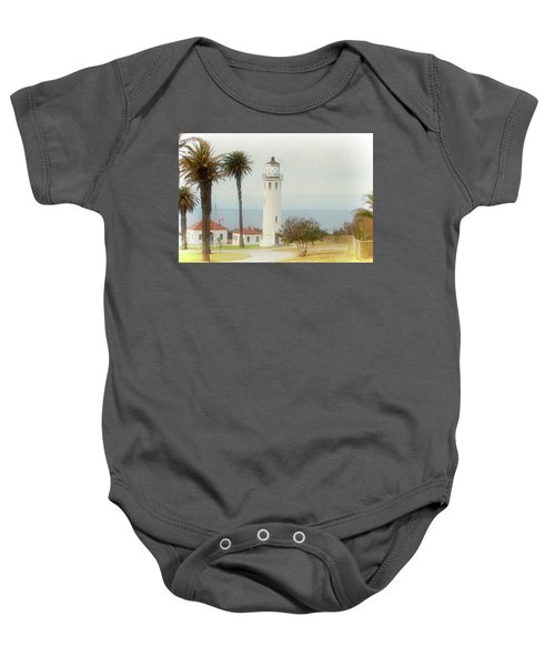 Point Vincente Lighthouse, California In Retro Style Baby Onesie