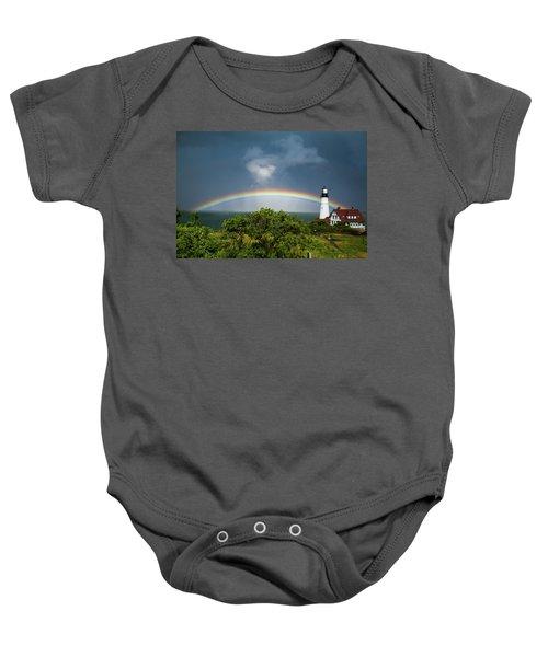 Rainbow At Portland Headlight Baby Onesie
