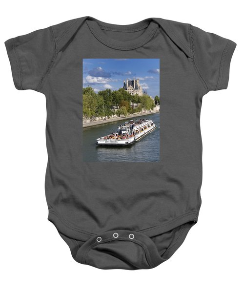 Sightseeing Boat On River Seine To Louvre Museum. Paris Baby Onesie