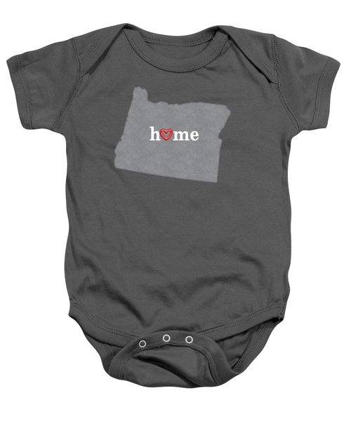 State Map Outline Oregon With Heart In Home Baby Onesie by Elaine Plesser
