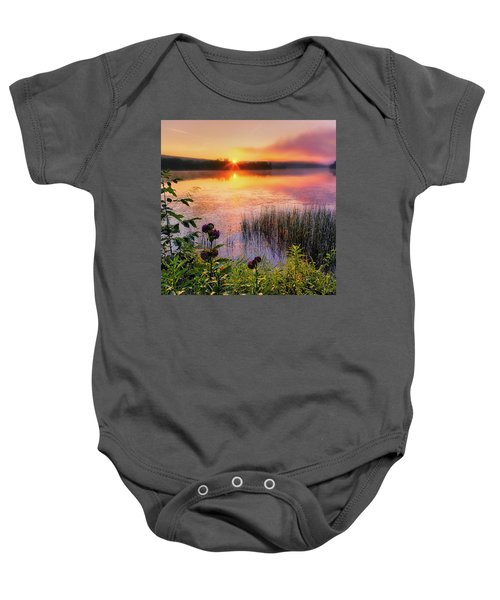 Baby Onesie featuring the photograph Summer Sunrise Square by Bill Wakeley