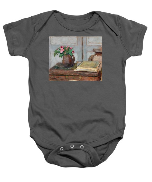 The Artist's Paint Box And Moss Roses Baby Onesie