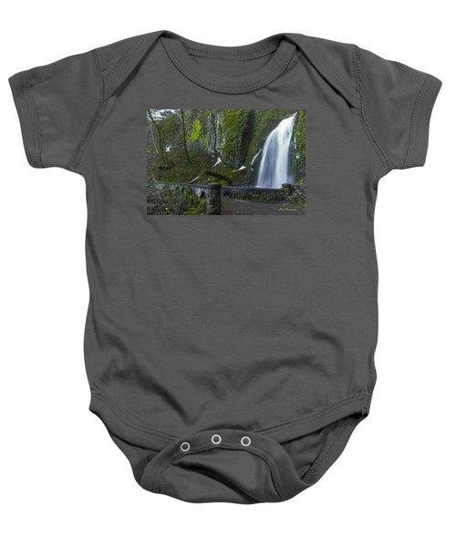 Wahkeena Falls Bridge Signed Baby Onesie