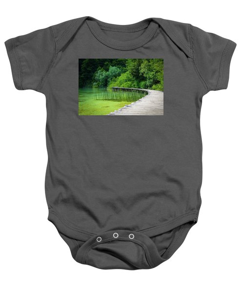 Wooden Path In The Forest Baby Onesie