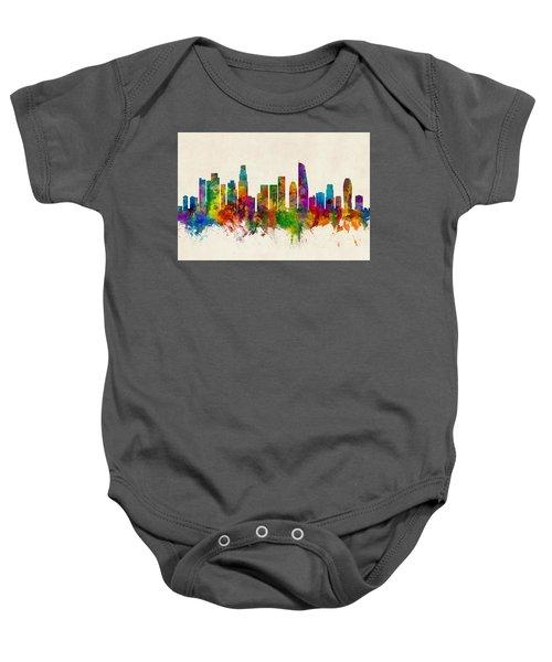 Los Angeles California Skyline Baby Onesie by Michael Tompsett