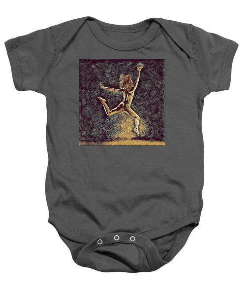 1307s-dancer Leap Fit Black Woman Bare And Free Baby Onesie