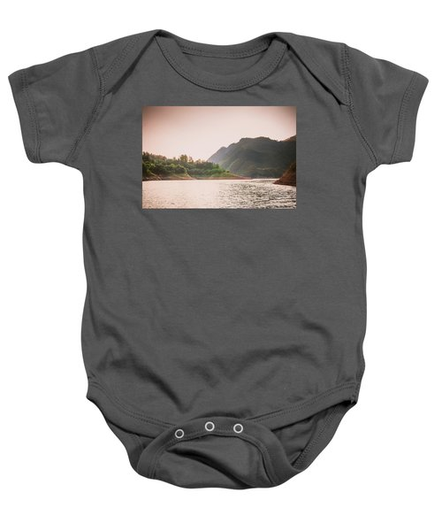 The Mountains And Lake Scenery In Sunset Baby Onesie