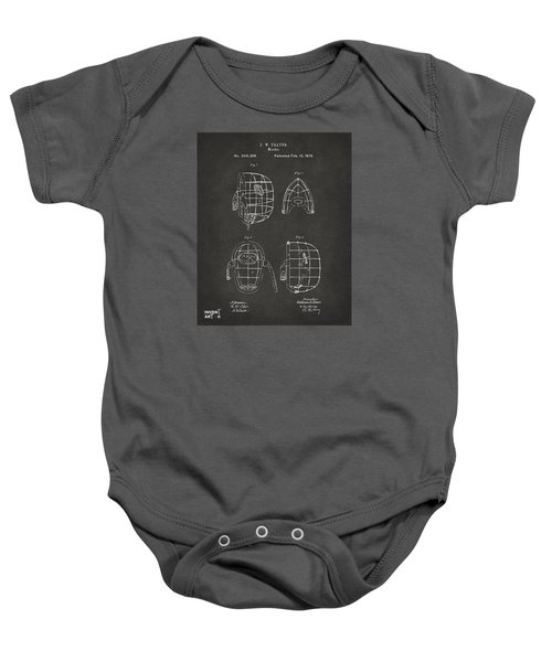 1878 Baseball Catchers Mask Patent - Gray Baby Onesie by Nikki Marie Smith