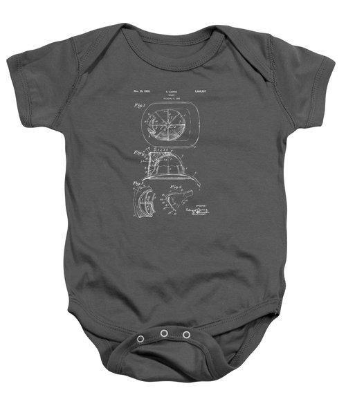 1932 Fireman Helmet Artwork - Gray Baby Onesie