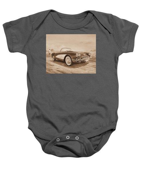 1959 Chevrolet Corvette Cabriollet In Sepia Baby Onesie