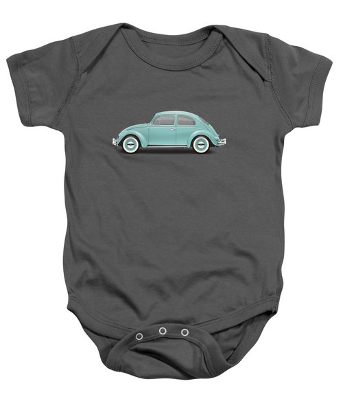 1961 Volkswagen Deluxe Sedan - Turquoise Baby Onesie by Ed Jackson