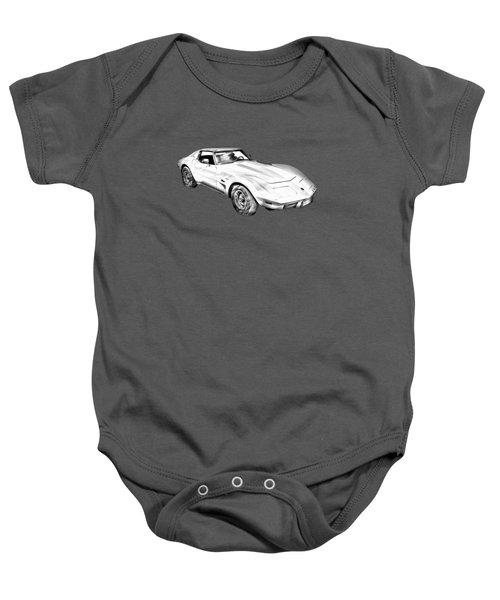 1975 Corvette Stingray Sports Car Illustration Baby Onesie