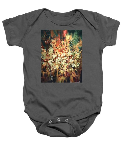 Baby Onesie featuring the painting Abstract Flowers by Tithi Luadthong