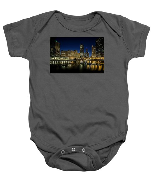 Chicago River And Skyline At Dawn Baby Onesie