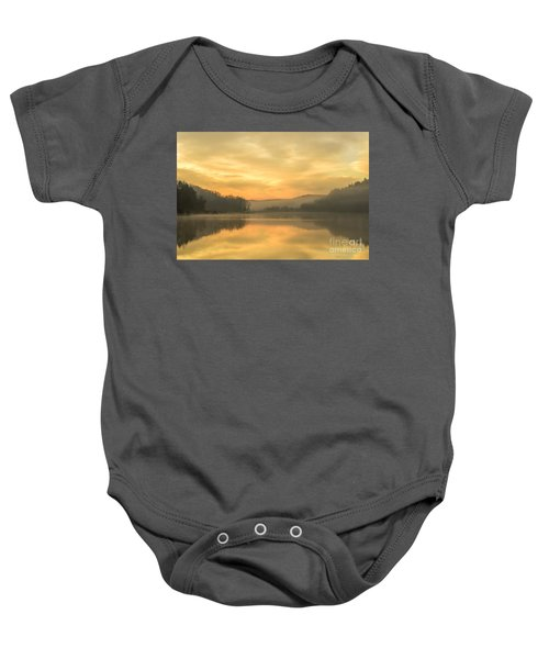 Misty Morning On The Lake Baby Onesie