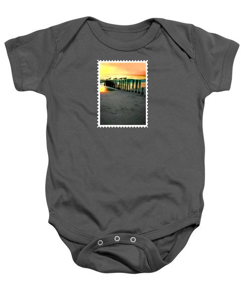 Sea Gulls On Pilings  At Sunset Baby Onesie