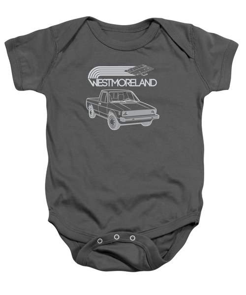 Vw Rabbit Pickup - Westmoreland Theme - Black Baby Onesie by Ed Jackson