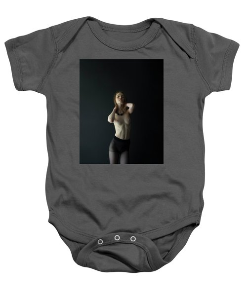 Young Woman In Pantyhose Baby Onesie
