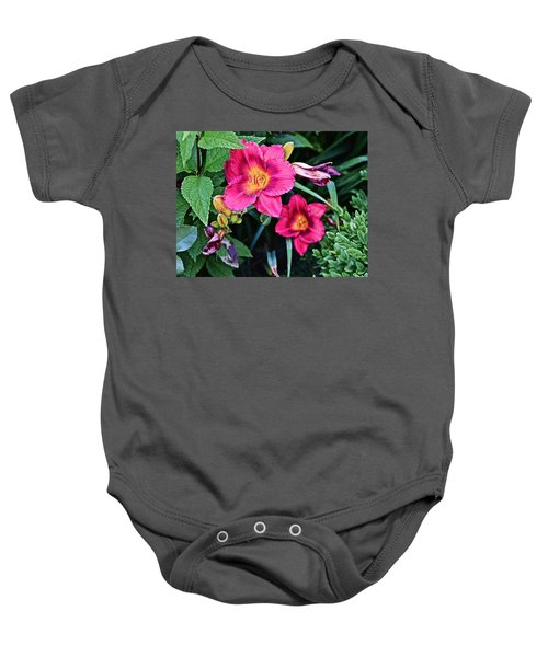 2015 Summer At The Garden Strawberry Candy Daylily 2 Baby Onesie