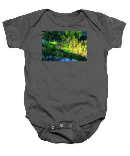 3 Horses Grazing On The Bank Of The Verde River Baby Onesie