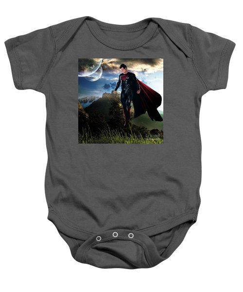 Baby Onesie featuring the mixed media Superman by Marvin Blaine