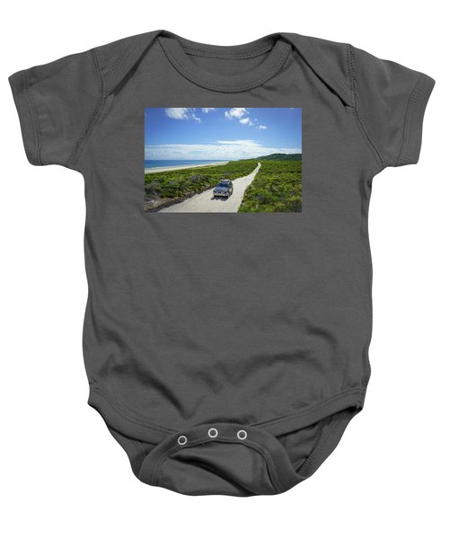 4wd Car Exploring Remote Track On Sand Island Baby Onesie