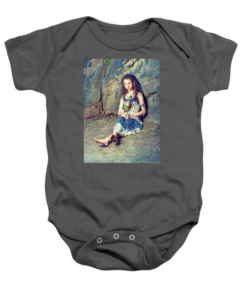Young American Woman Missing You With White Rose In New York Baby Onesie