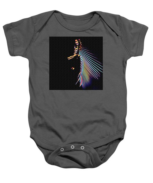 6580s-nlj Woman In Shadows By Window Zebra Striped Rendered In Composition Style Baby Onesie