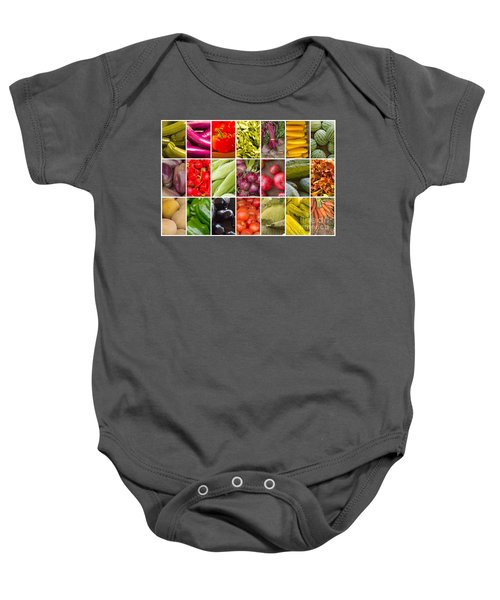 Fruit And Vegetable Collage Baby Onesie