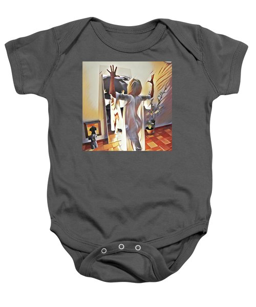9906s-dm Woman Confronts Herself In Mirror Baby Onesie