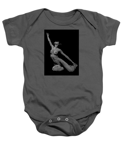 9970-dja Zebra Striped Yoga Reaching Sensual Lines Black White Photograph Abstract By Chris Mahert Baby Onesie
