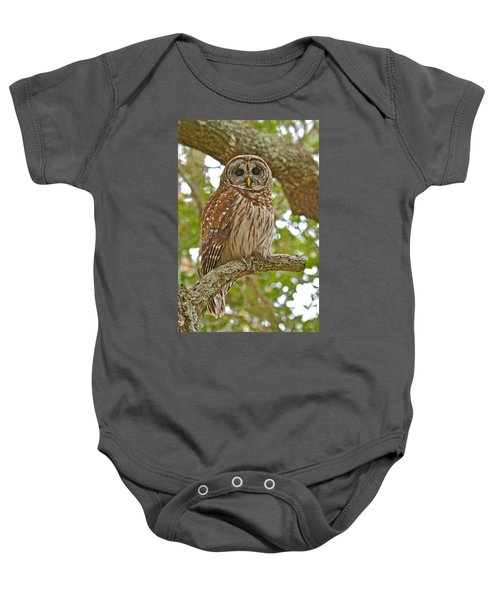 A Barred Owl Baby Onesie
