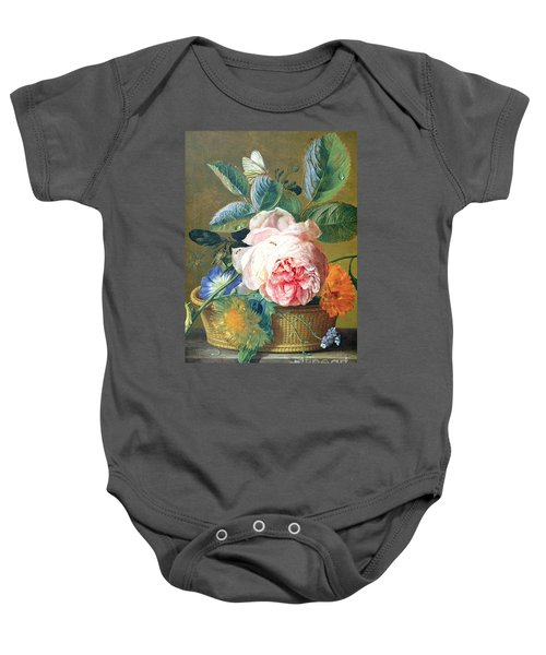 A Basket With Flowers Baby Onesie
