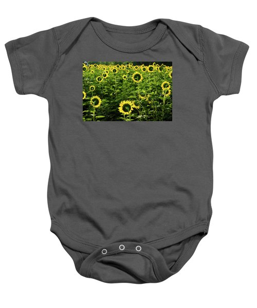 A Flock Of Blooming Sunflowers Baby Onesie