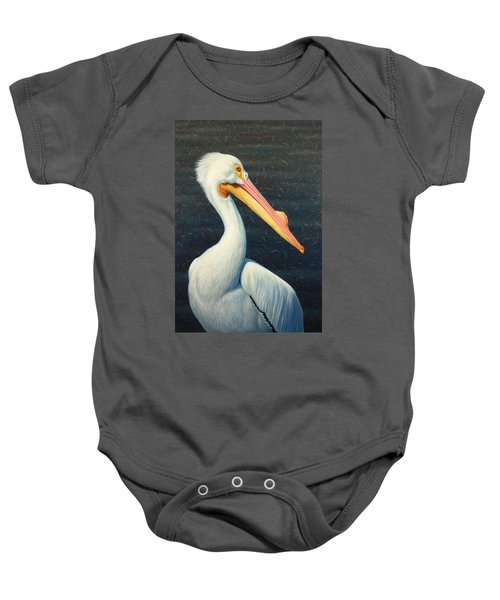 A Great White American Pelican Baby Onesie