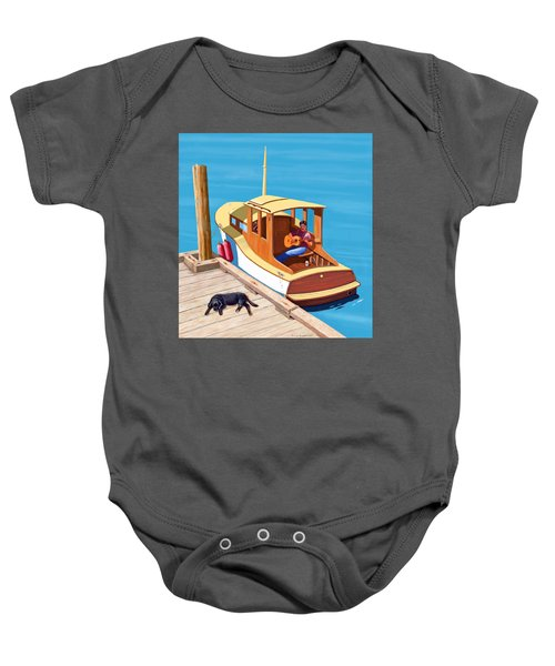 A Man, A Dog And An Old Boat Baby Onesie