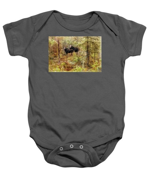 A Mother And Calf Moose. Baby Onesie
