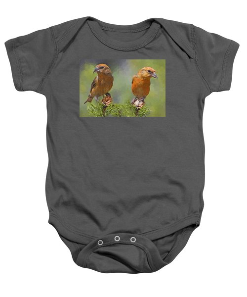 A Pair Of Male Red Crossbills - Painted Baby Onesie