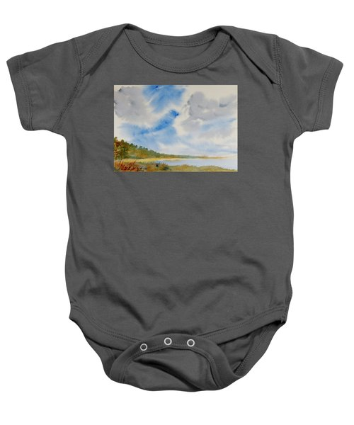 A Secluded Inlet Beneath Billowing Clouds Baby Onesie