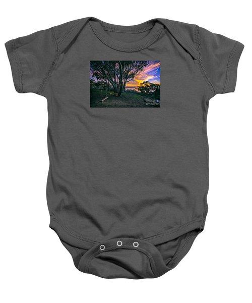 A Swinging Sunset From The Secret Swings Of La Jolla Baby Onesie