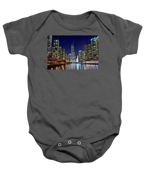 A View Down The Chicago River Baby Onesie by Frozen in Time Fine Art Photography